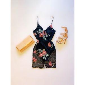 Sheer Flowered Cocktail Dress